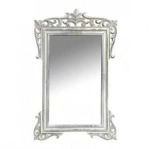 καθρεφτης ξυλινος σκαλιστος λευκος vintage espiel rev124