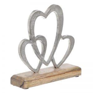 """Μεταλλικό:ξύλινο διακοσμητικό """"καρδιές"""". ιναρτ 3-70-357-0084"""