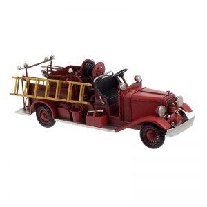 μεταλλικο πυροσβεστικο οχημα μινιατουρα κοκκινο με σκαλιτσα inart vintage 3-70-726-0245