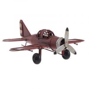 3-70-726-0226 μεταλικη μινιατουρα αεροπλανο κοκκινο inart vintage
