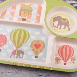 παιδικο σετ φαγητου από μπαμπου με σχέδιο ελεφαντα